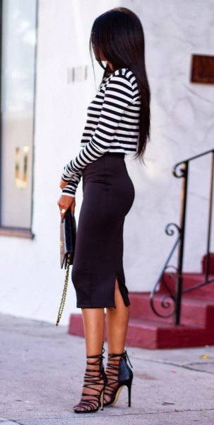 black and white striped tee strappy heels
