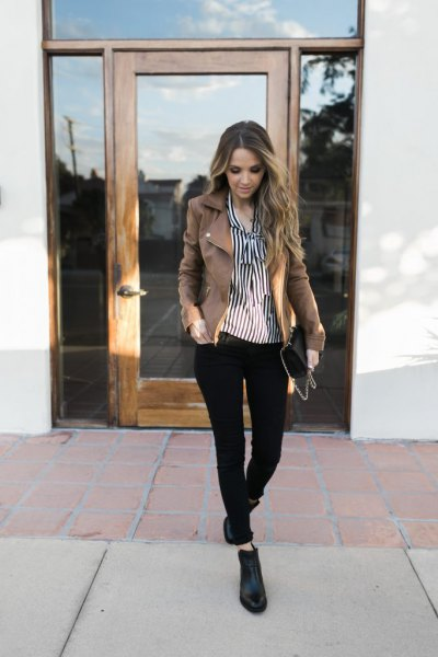 black and white vertical striped shirt leather ankle boots