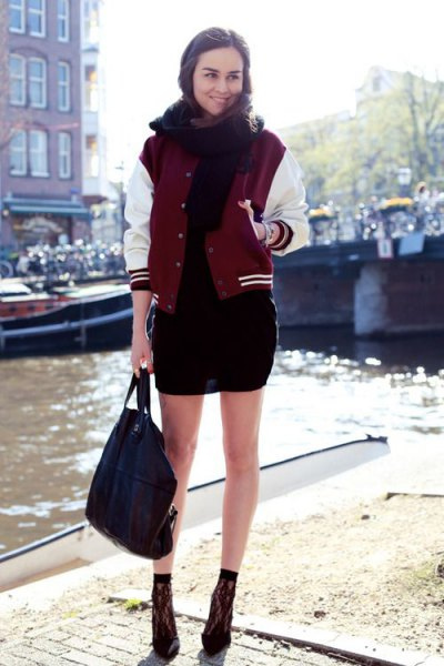black bodycon dress red and white baseball jacket