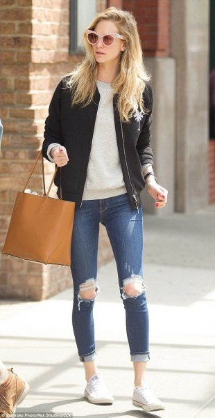 black bomber jacket grey sweater ripped jeans
