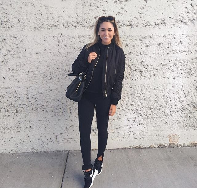 black bomber jacket leggings nike sneakers