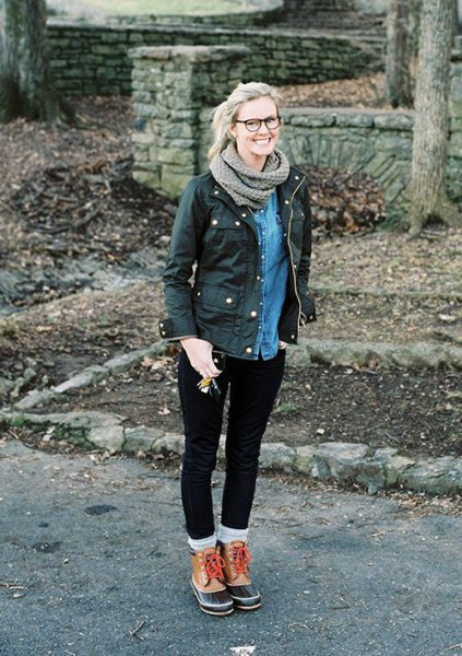 black cargo jacket denim shirt hiking boots