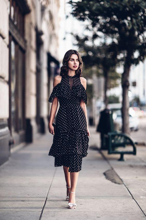 black chiffon dress polka dots