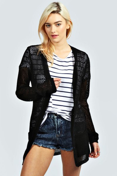 black crochet cardigan striped tee denim shorts