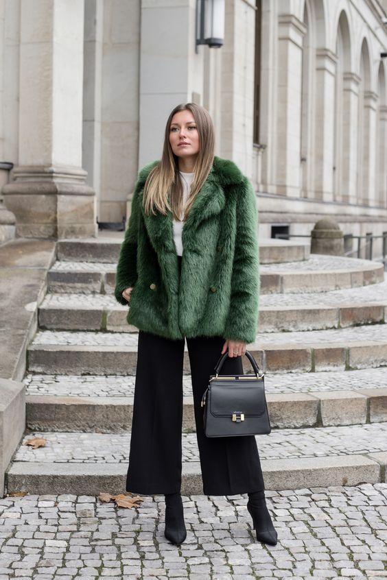 black culottes green faux fur coat