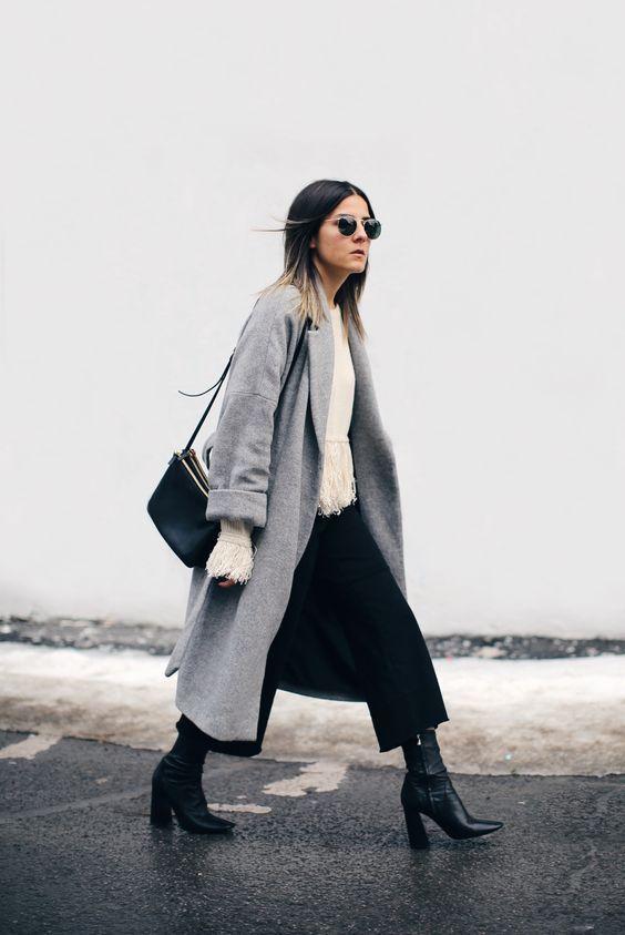black culottes grey coat