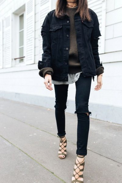 black denim jacket green comfy sweater