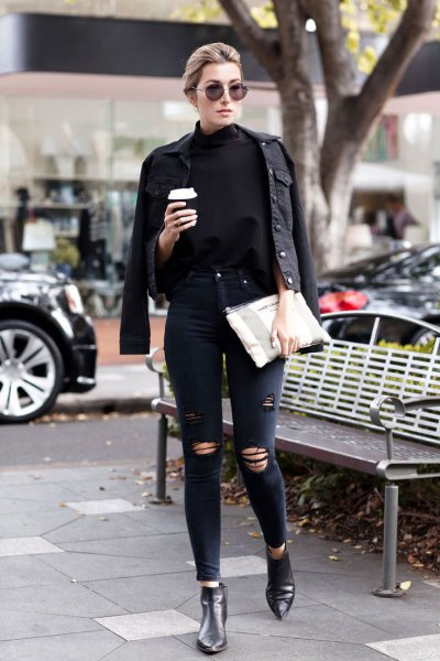 Black Denim Jacket And Black Jeans Fashionable Clothes Blog
