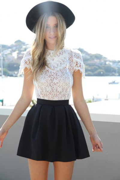 black felt hat skater skirt