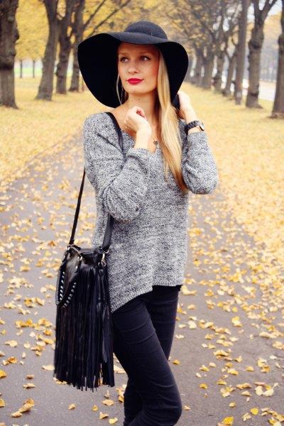 black floppy hat heather grey knit sweater