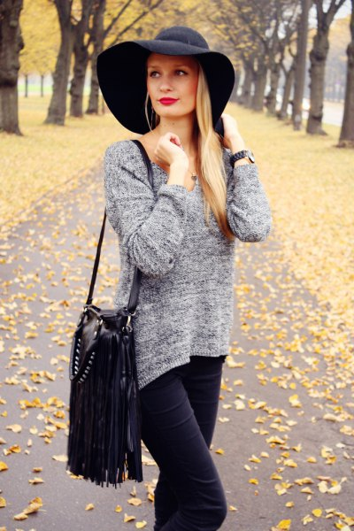 black floppy hat heather grey knit sweater