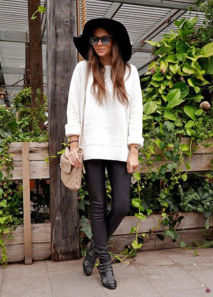 black floppy hat leather pants