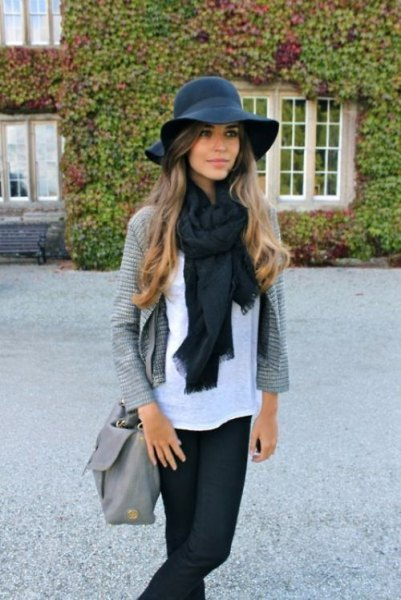 black floppy hat scarf cardigan