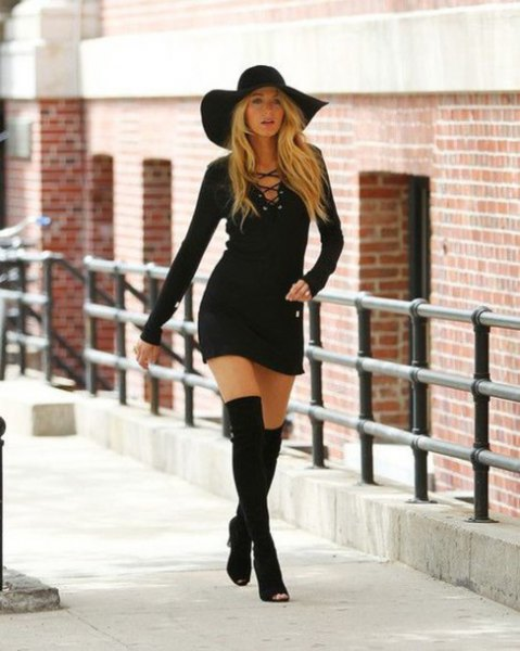 black floppy hat tie chest bodycon dress