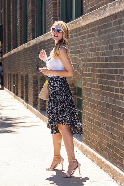black floral ruffle midi skirt