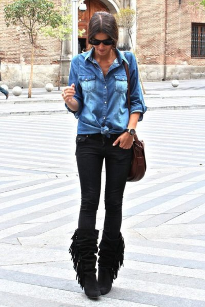 black fringe boots denim shirt skinny jeans