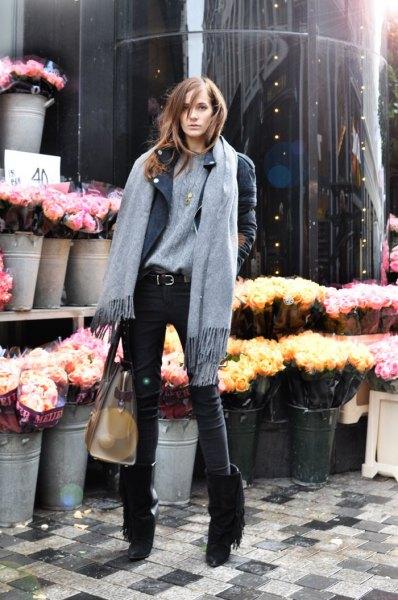 black fringe boots grey sweater leather jacket