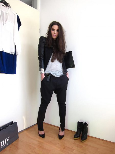 black harem pants leather jacket outfit