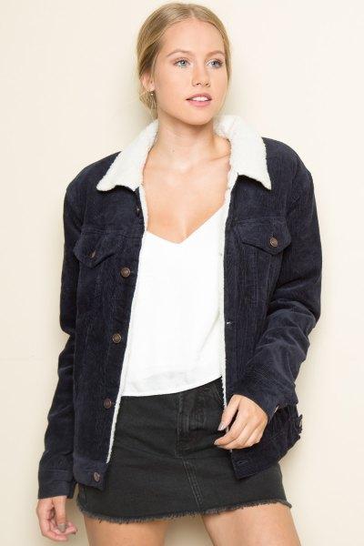 black jacket white vest top denim shirt