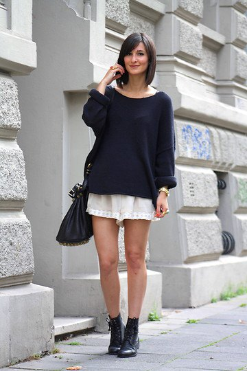 black knit sweater pink chiffon shorts