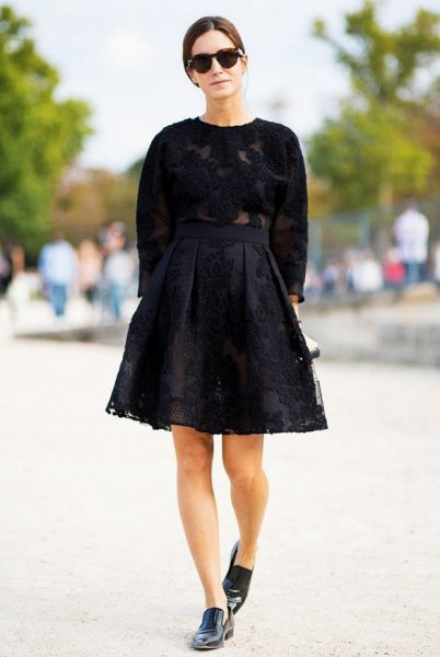black lace flare skirt knit sweater