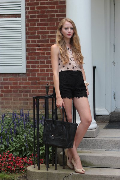 black lace shorts pink heart printed blouse