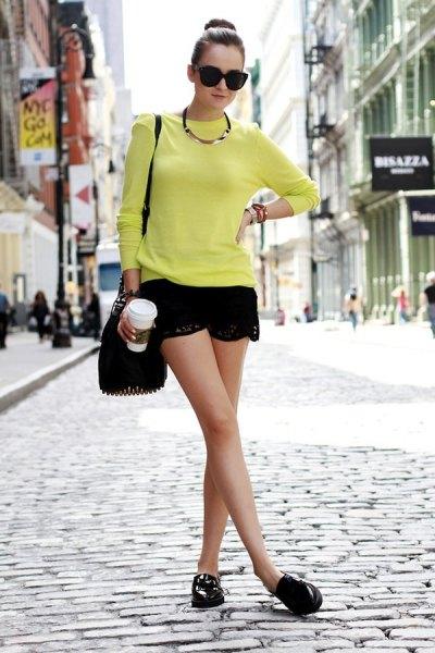 black lace shorts yellow knit sweater