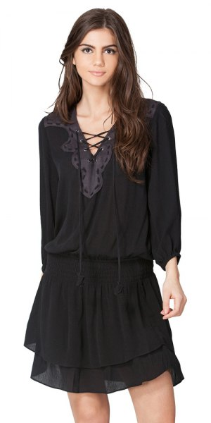 black lace up shirt chiffon mini skirt