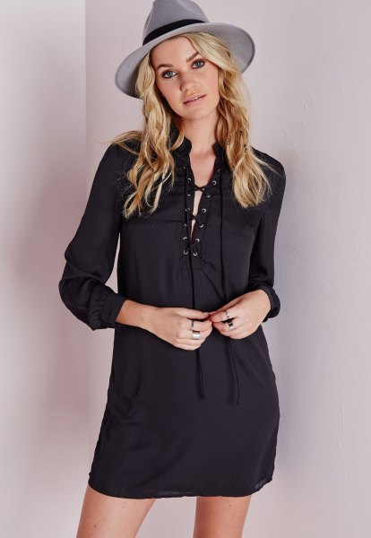 black lace up shirt dress grey felt hat