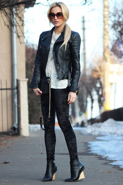 black leather bomber jacket outfit