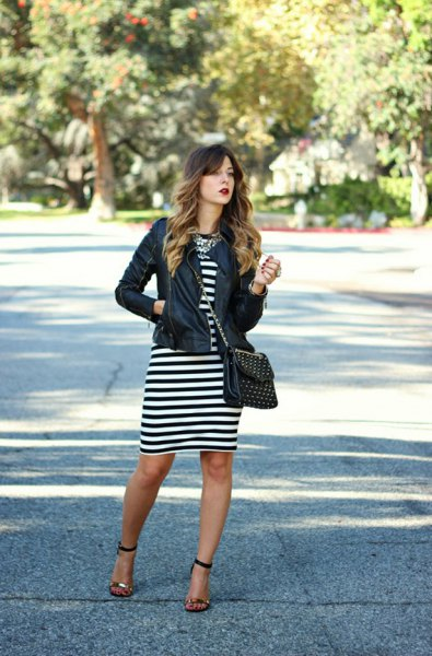 black leather jacket black and white striped dress