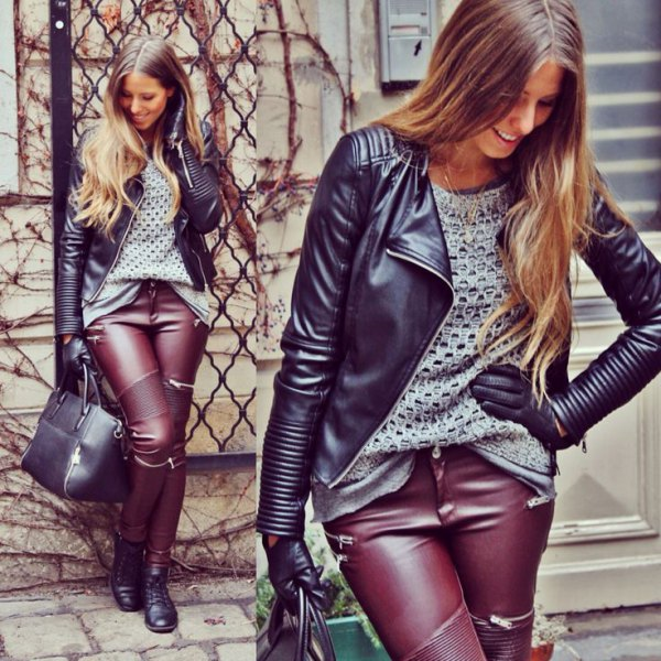 black leather jacket brown pants