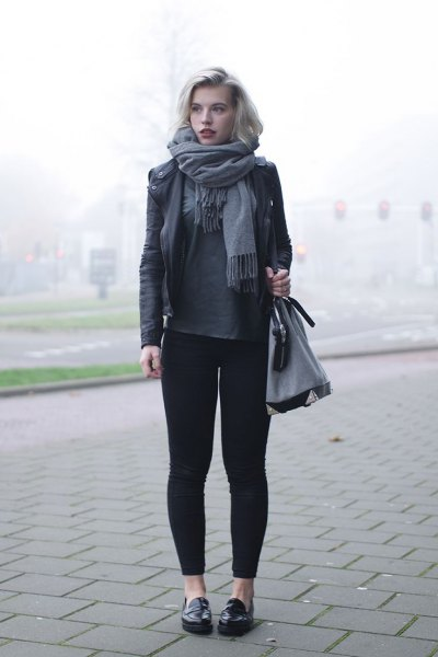 black leather jacket grey leggings loafers
