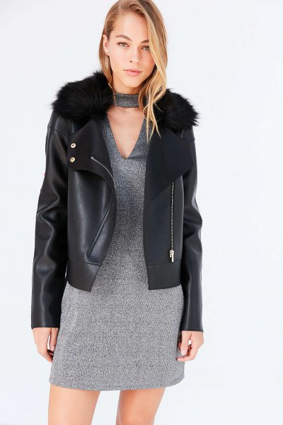 black leather jacket heather grey v neck shift dress
