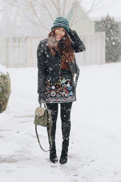 black leather jacket knit hat