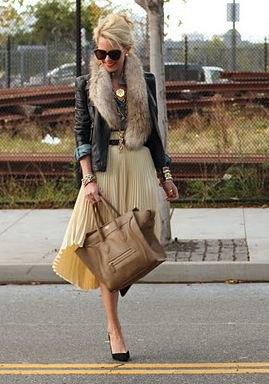 black leather jacket pleaded midi flare skirt