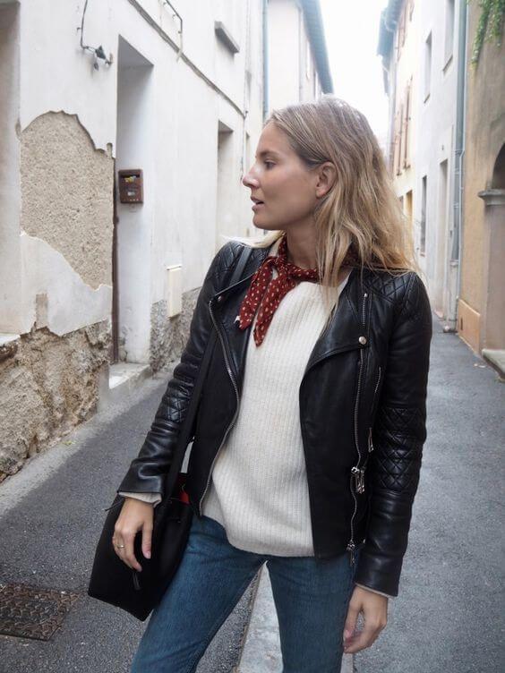 black leather moto jacket white sweater