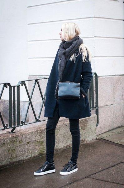 black leather sneakers navy long wool coat