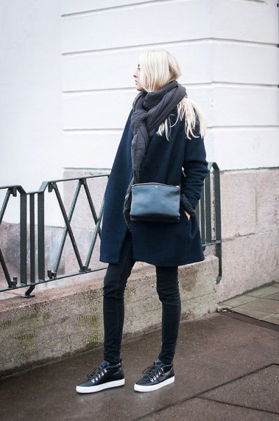 black leather sneakers navy long wool coat