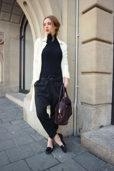 black loafers white long cardigan