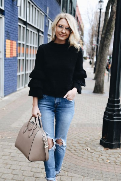 black long sleeve ruffle sweater ripped jeans