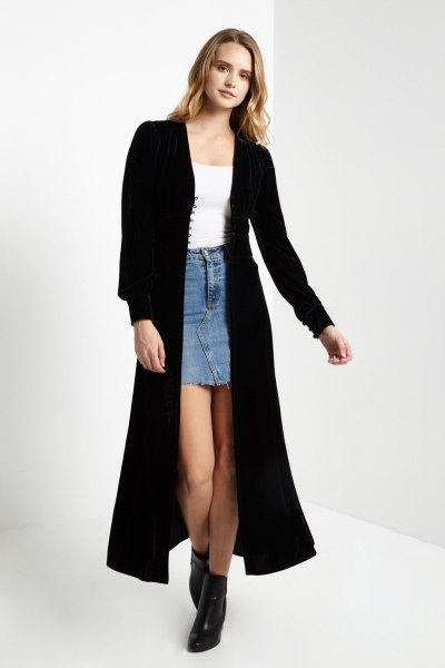 black maxi velvet jacket denim mini skirt