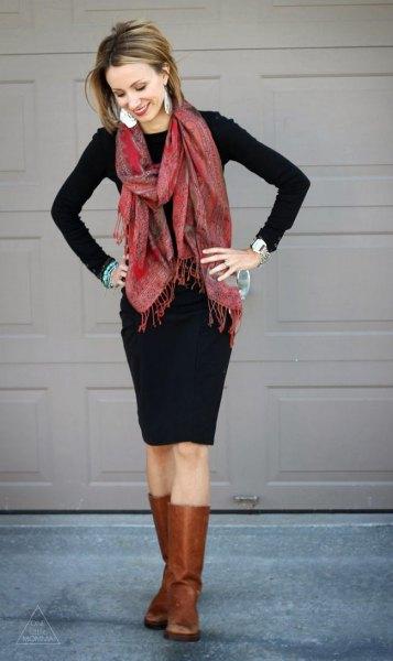 black midi dress leather boots chiffon scarf