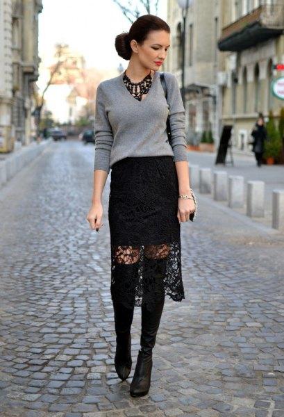 black midi lace skirt grey sweater