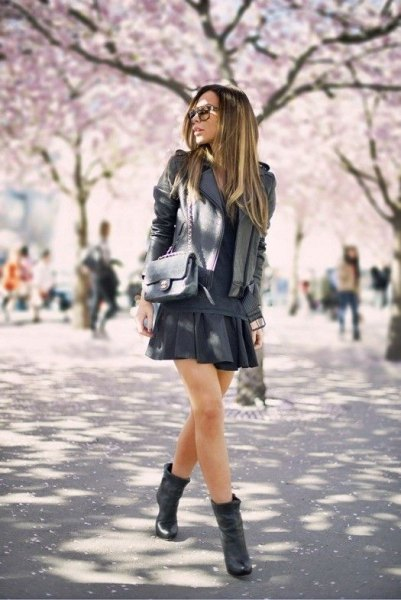black mini skirt ankle boots