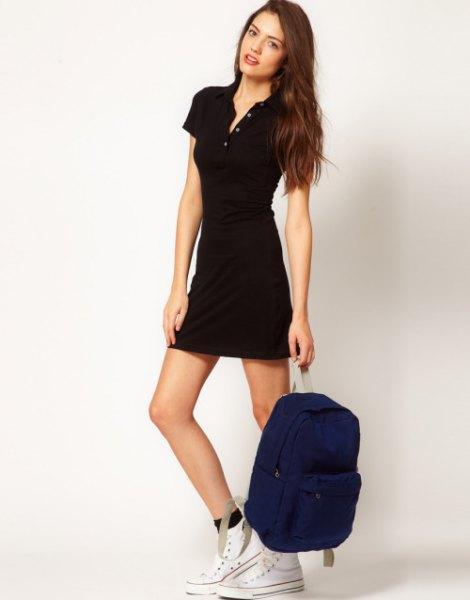black polo dress high cut converse outfit