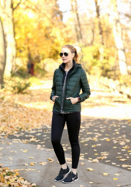 black puffer jacket running tights sneakers