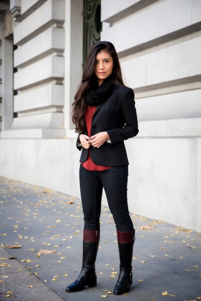 black riding pants blazer knee high boots