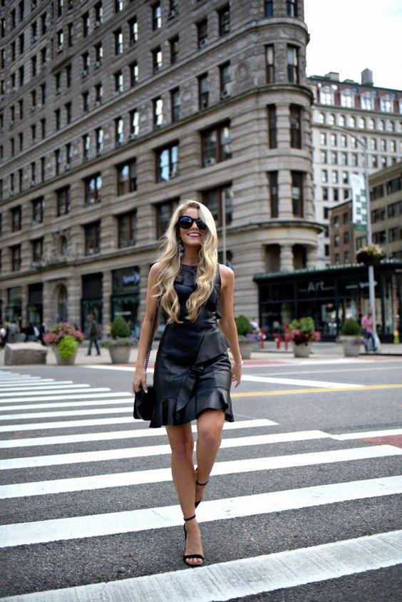black ruffle dress leather