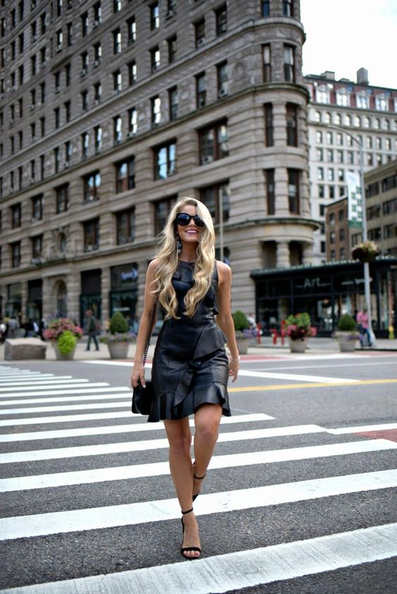 black ruffle dress leather